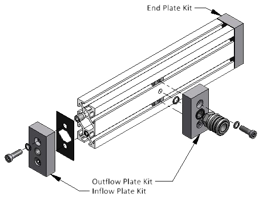 diagram of inflow and outflow plate kits for t slot aluminum extrusions