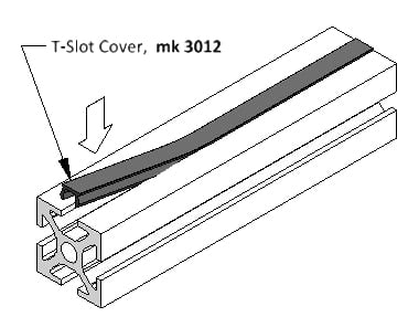 diagram of a t slot cover being applied to an extruded profile