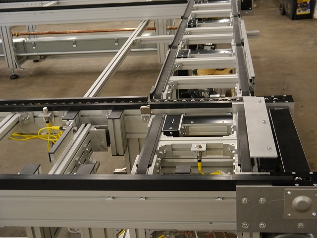 Pallet conveyor system with various conveyor types.