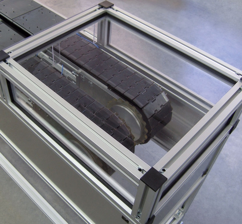 this conveyor guard feature clear poly carbonate guarding mounted into the t slot of the mk extrusion