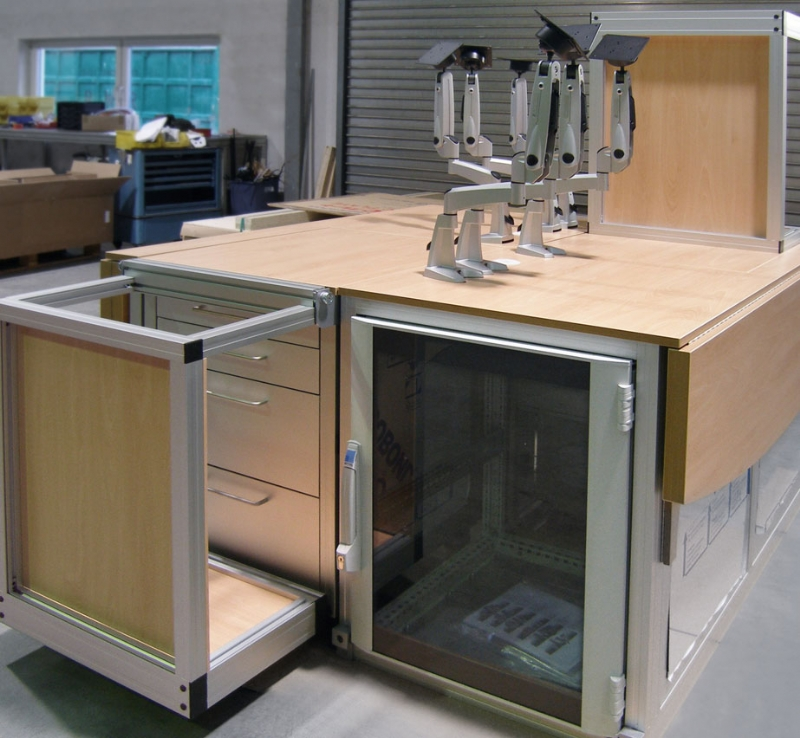 laboratory work center this custom work center is constructed out of a variety of mk profiles with wood paneling and work surfaces