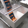 Cleated belt conveyor with hopper and orange parts