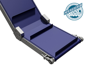 A stainless steel framed conveyor system with incline and a purple cleated belt.