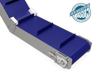 mk offers the CMP-400 a stainless steel gooseneck style incline conveyor with a plastic modular belt.