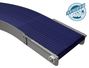 mk offers the CRM-400 which is a plastic modular belt stainless steel conveyor designed to travel around corners