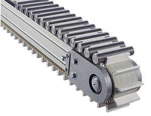 An attachment timing belt conveyor carrying small rods