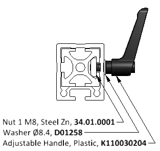 Diagram of a Plastic Locking Lever Installed in a T-Slot Aluminum Extrusion