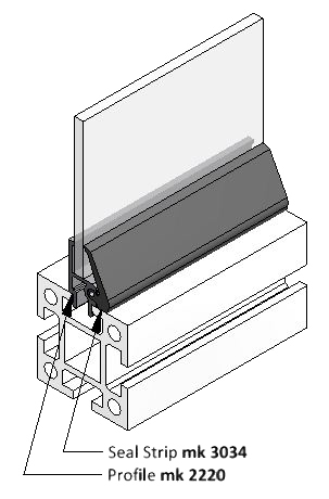 Diagram of Seal Strip Applied between T-Slot Aluminum Profile and Window Panel