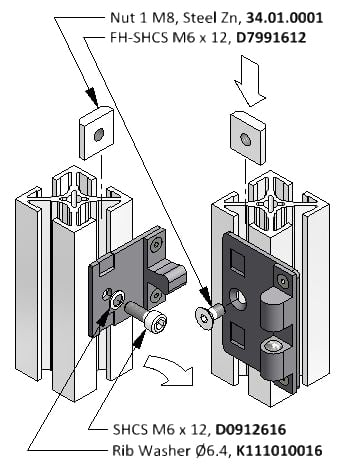 Door Latch Diagram for Extruded Aluminum Framing System
