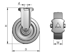 Diagram of Fixed Caster Wheels for Aluminum Framing Systems