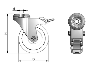 Diagram of Heavy Duty Locking Swivel Casters for Aluminum Framing
