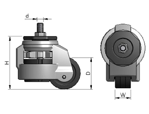 Diagram of Roll and Set Casters for Aluminum Framing