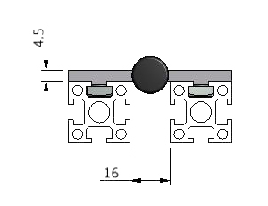 Diagram of Surface Hinge Mounting on T-Slot Aluminum Profiles