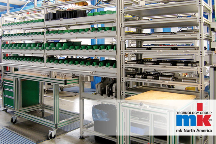Kanban racks holding stock in a lean manufacturing facility, created with mk aluminum extrusions.