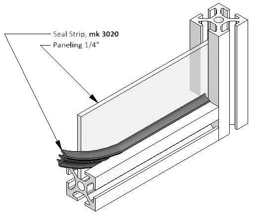 Diagram of Sealing Strip being Applied between T-Slot Frame and Side Panel