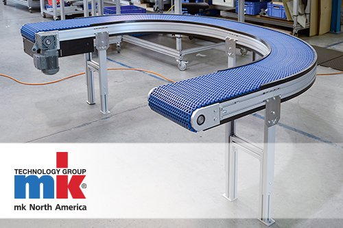 Curved modular plastic belt conveyor from mk North America