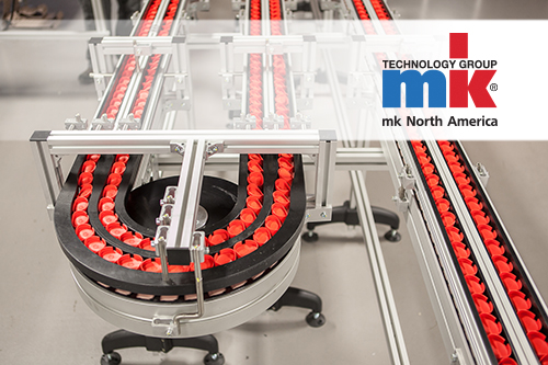 Curved table top chain conveyor from mk North America