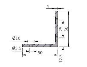 Angle A25/15/2, Series 25 Angles, Aluminum Profile Connectors - 90° Right Angles, Aluminum Connectors