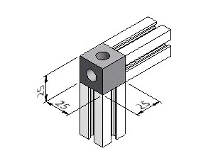 2-Way Corner Block 25, Series 25, Corner Blocks, Aluminum Profile Connectors - 90° Right Angles, Aluminum Connectors