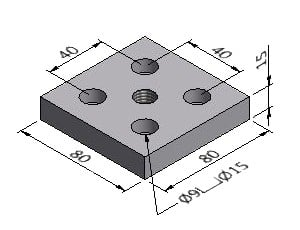 Pad Plate J, For 80x80 mm Profile