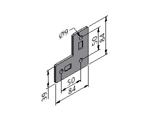 Angle Plate 03, Joining Plates - Light Duty, Aluminum Profile Connectors - 90° Right Angles, Aluminum Connectors