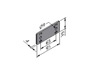 Parallel Plate 03, Joining Plates - Light Duty, Aluminum Profile Connectors - 90° Right Angles, Aluminum Connectors