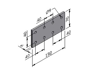 Plate 40/3, Joining Plates - Heavy Duty, Aluminum Profile Connectors - 90° Right Angles, Aluminum Connectors