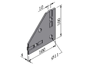 Corner Plate 1, Joining Plates - Heavy Duty, Aluminum Profile Connectors - 90° Right Angles, Aluminum Connectors