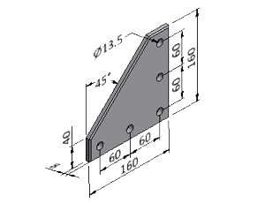 Plate 60/10, Joining Plates - Heavy Duty, Aluminum Profile Connectors - 90° Right Angles, Aluminum Connectors