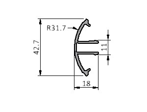 Profile Series 40, Cover 40, R=31.7°, Aluminum Extrusions