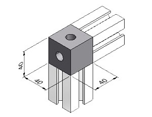 2-Way Corner Block 6, Series 40, Corner Blocks, Aluminum Profile Connectors - 90° Right Angles, Aluminum Connectors