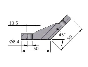 Angle M25 45°, Series 40 & 50 Angles, Multi-Angle & Parallel Aluminum Connectors, Aluminum Connectors