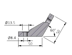 Angle N25 60°, Series 40 & 50 Angles, Multi-Angle & Parallel Aluminum Connectors, Aluminum Connectors