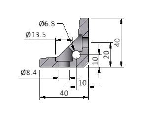 Angle E25, Series 40 Angles, Aluminum Profile Connectors - 90° Right Angles, Aluminum Connectors