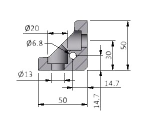 Angle H40, Series 60 Angles, Aluminum Profile Connectors - 90° Right Angles, Aluminum Connectors