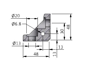 Angle H40s, Keyed, Series 60 Angles, Aluminum Profile Connectors - 90° Right Angles, Aluminum Connectors
