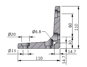 Angle K40, Series 60 Angles, Aluminum Profile Connectors - 90° Right Angles, Aluminum Connectors