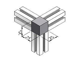 3-Way Corner Block 31, Series 25, Kit, Corner Blocks, Aluminum Profile Connectors - 90° Right Angles, Aluminum Connectors