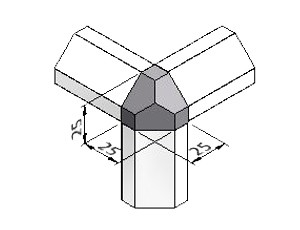 3-Way, Chamfered Corner Block 35, Series 25, Kit, Corner Blocks, Aluminum Profile Connectors - 90° Right Angles, Aluminum Connectors