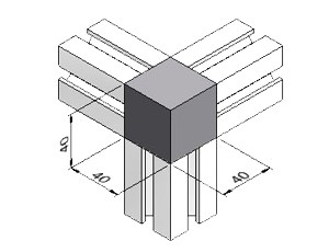 3-Way Corner Block 39, Series 40, Kit, Corner Blocks, Aluminum Profile Connectors - 90° Right Angles, Aluminum Connectors
