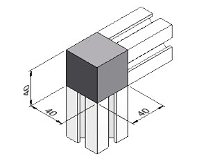 2-Way Corner Block 40, Series 40, Kit, Corner Blocks, Aluminum Profile Connectors - 90° Right Angles, Aluminum Connectors