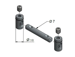 Butt Fastener 7 mm, End-to-End Fasteners, Multi-Angle & Parallel Aluminum Connectors, Aluminum Connectors