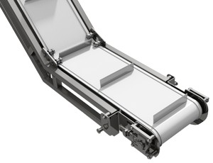 mk offers the CIC-600 gooseneck style incline cleated belt conveyor for sanitary food grade conveyor applications.