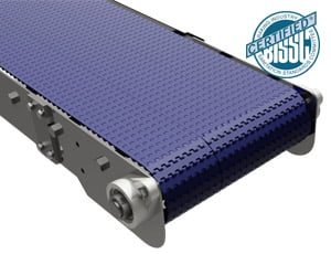 The sanitary stainless steel conveyor system with modular plastic belt.