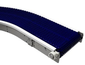 A stainless steel belt conveyor with curved frame and modular plastic belt.