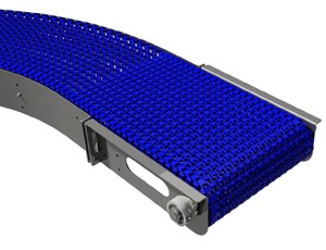 mk offers the CRM-600 radius plastic modular belt stainless steel conveyor idea for conveying food stuffs through curves in washdown applications.
