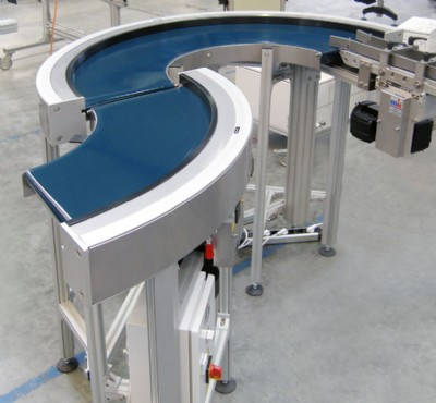 "Two curve belt conveyors set up in an ""S fashion"""