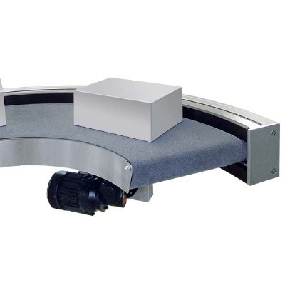 A curved flat belt conveor with a 90-degree bend