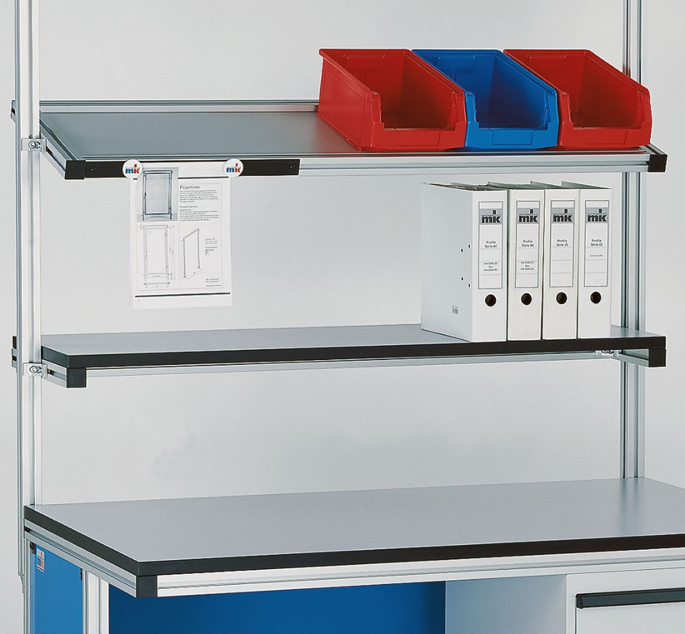 Shelving Attached to Extruded Aluminum Factory Workstation
